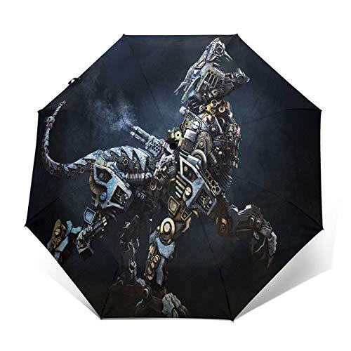 TISAGUER Paraguas automático de Apertura/Cierre,Cuadro de Arte Moderno,un majestuoso Tigre Hecho con Piezas de máquinas,Guepardo,Paraguas pequeño Plegable a Prueba de Viento