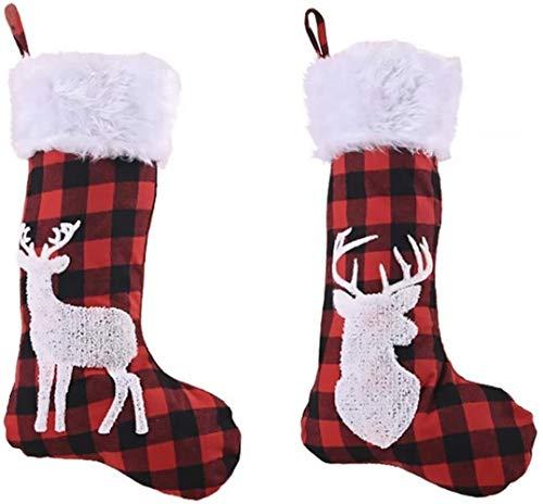 XIAOGINGV 2Pcs Christmas Stocking Plaid Rosso e Nero Calzini di Natale Elk Caramella Calze for la casa Festa Negozi di Natale