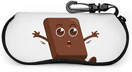 MODORSAN Happy Chocolate Kawaii Cartoon Custom Gafas de sol Estuche Gafas con estuche Ligero Estuche blando de neopreno portátil con cremallera Estuche para hombres Gafas de sol