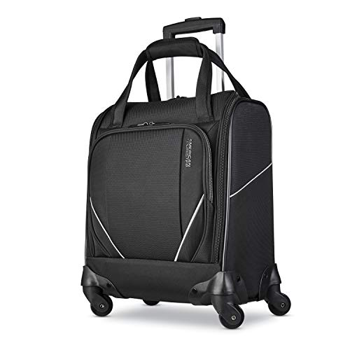 American Tourister Zoom Turbo Softside Expandable Spinner Wheel Luggage, Black, Underseater
