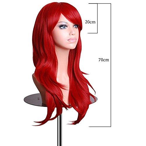 Vococal® 70 cm Cosplay Coloré Longue Perruque Cheveux Bouclés Extensions pour Masquerade Party Halloween Noël Accessoire Rouge