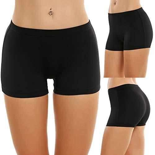 Ekouaer Damen Panties Mehrpack - Frauen Unterw鋝che | Damenunterwäche - Damen Panty im 3-er Set | Wohlfül Pantys | Damen Boxershorts, Schwarz, XL