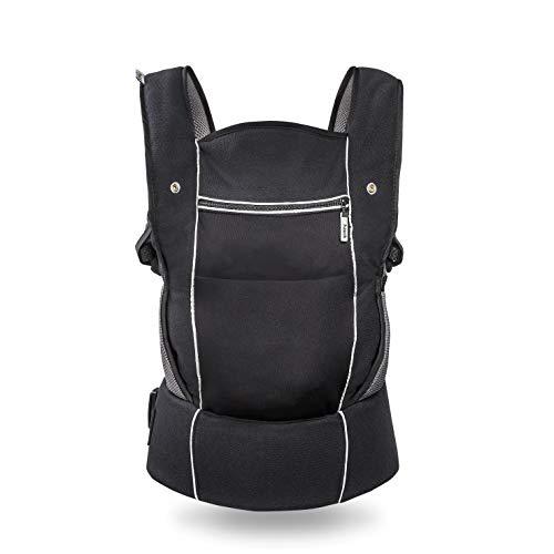 Hauck Close to me ergonomische Babytrage, inkl. Neugeborenen Einsatz, Sitzerhöhung und Stauraum, Atmungsaktiv, gepolsterter Hüft Gurt, hoher Tragekomfort, ab Geburt bis zu 12 kg, schwarz
