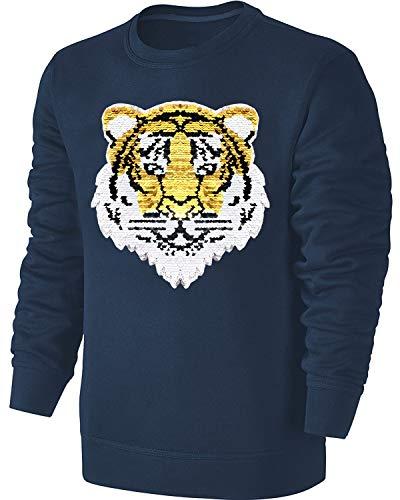 Blackshirt Company Kinder Wende Pailletten Sweatshirt Tiger Streichel Pullover Blau Size 116