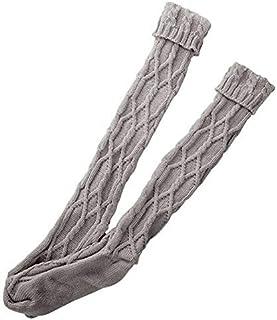 Haokaini, Calcetines largos de algodón para mujer y niña, con cable de invierno, para botas altas, cálidos, calentadores de piernas