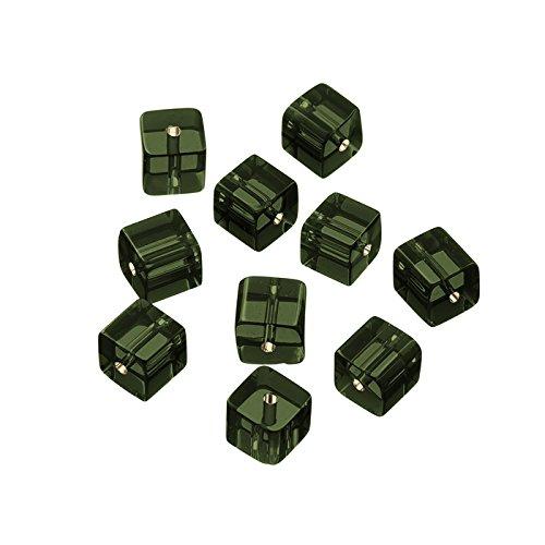 Petite Transparent Gris foncé Perles de verre cube 8 mm PK10