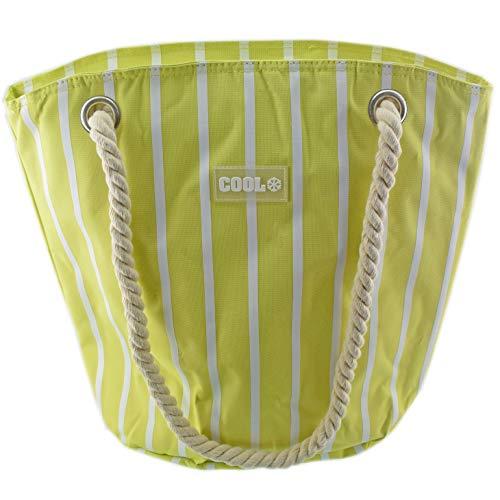 Kühltasche groß gestreift mit Reißverschluß Fassungsvermögen ca. 28L 32,5 x 21cm - Höhe: 40 cm - Innenisolierung Kordel (gelb grün)