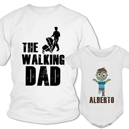 Regalo día del padre camiseta papá personalizada + Body o camiseta hijo/a Estilo the Walking Dead Dad conjunto familia zombie, regalos originales para hombre