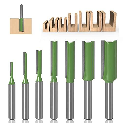 7 Stück 6mm Schaft Gerade Fräser Set Holz Fräser Router Bit Oberfräser Nutfräser Holzfräser Fräser - 3mm,4mm,5mm,6mm,8mm, 10mm,12mm
