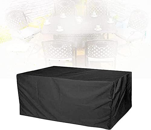 Hadunoi Juego de Muebles para Exteriores Cubre guardapolvo con cordón de Tela Oxford a Prueba de Agua, para Exteriores, Mesa de Comedor, sofá, 31 tamaños (Color: Negro, Tamaño: 244 × 244 × 30 cm)