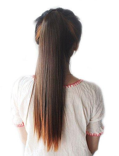 WIGSSALE Extensions de cheveux synthétiques longs raides avec ruban attaché Marron clair 45,7 cm