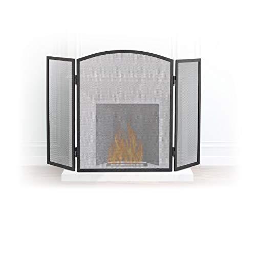 Relaxdays Funkenschutzgitter Stahl, dreiteiliges Gitter gegen Funkenflug, Kaminschutzgitter H x B: 62 x 96 cm, schwarz