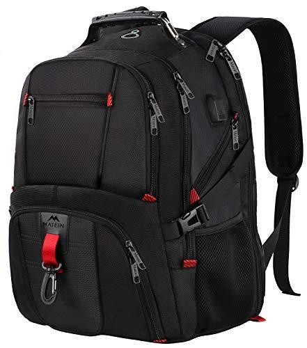 Laptop Rucksack Herren,18,4 Zoll Backpack Schulrucksack Daypack Multifunktion Business Notebook Taschen Wasserdicht Großer mit USB Ladeanschluss für Männer Schüler Jungen Teenager - Schwarz MEHRWEG