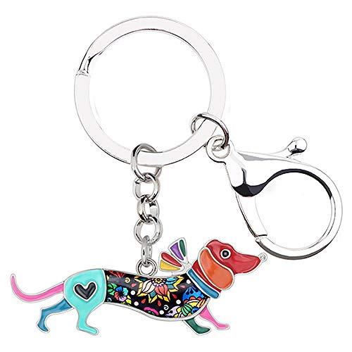 LZHLMCL Tasche Schlüsselring Kette Metall Emaille Halsband Hund Schlüsselanhänger Cartoon Tierschmuck Frauen Mädchen Handtasche Auto Multicolr