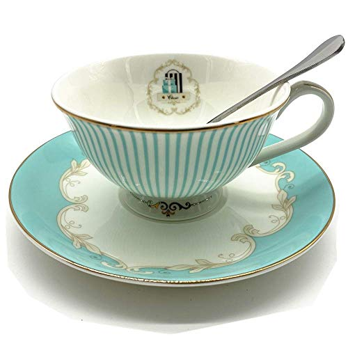 Krysclove Vintage Blue Bone China Teacup Spoon and Saucer Set, Delicate Royal Bone China Coffee Mug Print Cup Ceramic Tea Cups (Stripe)