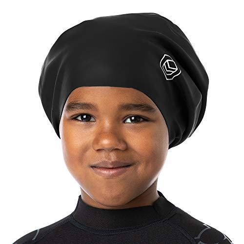 SOUL CAP JR - Large Swimming Cap for Children - Designed for Long Hair, Dreadlocks, Weaves, Hair Extensions, Braids, Curls & Afros - Silicone (Large, Black)