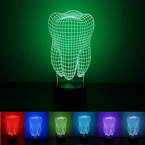 Illusion 3D 7 Couleurs Les Dents Lumière de Nuit, USB alimenté par LED Petite Lampe de Table d'éclairage, Décoration de Chambre d'éclairage pour Enfants Cadeau d'anniversaire