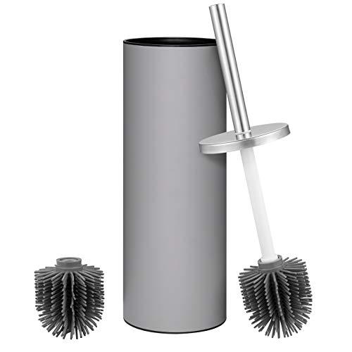 VINFACT Porta scopino per WC Coperchio in acciaio inossidabile con 2 testine in gomma (TPR) per una pulizia profonda e durevole del bagno