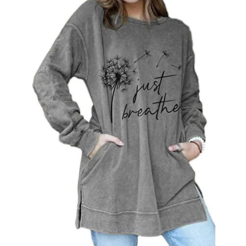 SLYZ Camiseta De Manga Larga para Mujeres Europeas Y Americanas con Estampado De Diente De León Suéter De Manga Larga De Cuello Redondo De Longitud Media para Mujeres
