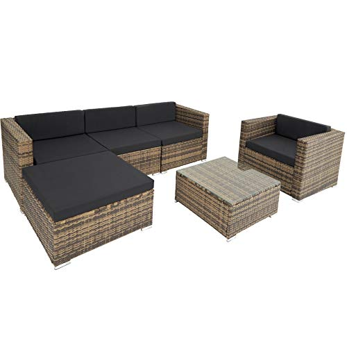 TecTake 800806 Hochwertige Luxus Polyrattan Sitzgruppe Lounge Set für Garten und Terrasse, inkl. Sitz- und Rückenkissen, Gartenmöbel Set mit Sofa, Sessel und Tisch (Natur)