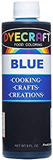 DyeCraft Blue Food Coloring (LARGE 8 oz Bottle) Odorless, Tasteless, Edible - Perfect for Baking, Cooking, Arts & Crafts, Decorations and More