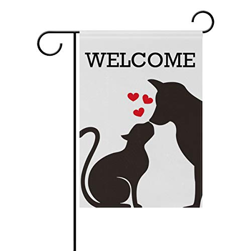 ZZAEO Dog Cat Garden Flag, 12 x 18 inch Yard Flag Vertical Polyester Welcome Small Banner for Outside