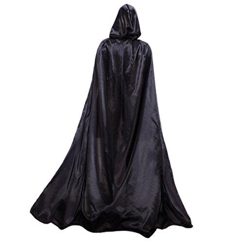 Damen Herren Halloween Umhang Karneval Fasching Kostüm Cape mit Kapuze Schwarz,L