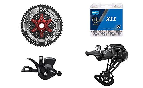 JGbike Compatible MTB groupset for Shimano Deore M5100 11 Speed shifters & Rear Derailleur,KMC X11 Chain,Sunrace 11-50T CSMX80 Cassette