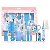 kit de cuidado de la salud, 10 piezas Baby Kids Bath Nail Hair Health Care Set Grooming Thermometer Brush Kit-(azul)