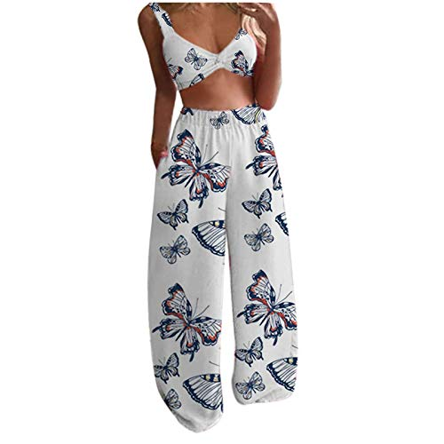 Boho - Conjunto de 2 camisetas sin mangas y pantalones largos con estampado de mariposas, estilo casual para yoga, playa Blanco Azul B L