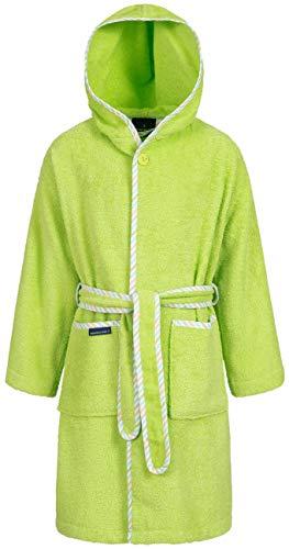 Morgenstern Baumwoll Kinderbademantel mit Kapuze einfarbig, Gr. 110/116,Grün