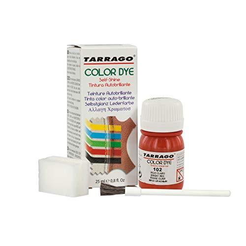Tarrago   Self Shine Color Dye 25 ml   Tinte Para Cuero y Lona de Acabado Brillante Para Teñir Zapatos y Accesorios   Tintura de Secado Rápido Para Reparar el Calzado   Anti Rozaduras (Rojo Claro 102)