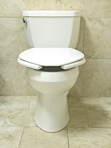 Big John 3-W Oversized Open Front Toilet Seat with Cover and Stainless Steel Hinges – For Round Or Elongated Toilet Bowls – Weight Capacity 1,200 Pounds – White