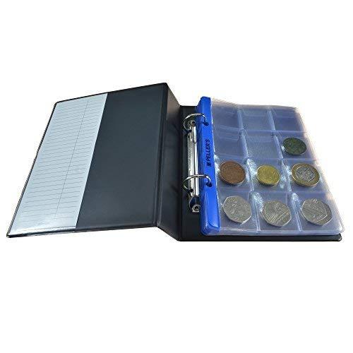 PELLER'S AS120 Sammelalbum für 120 10 Hüllen, Fächer 35 x 35mm. Für Münzen mit Ø 28mm. Münzalbum S, Plastik, Schwarz, Model S