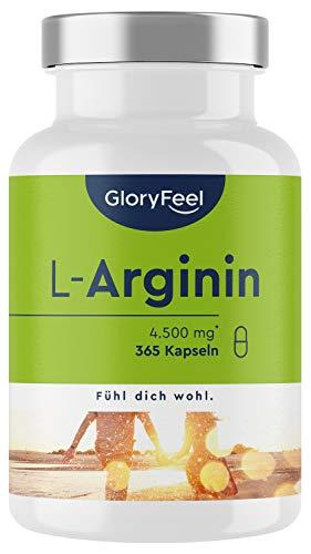 L-Arginin - 365 vegane Kapseln - 4500mg pflanzliches L-Arginin HCL (3700mg reines L-Arginin) pro Tagesdosis - Laborgeprüft ohne Zusätze hergestellt in Deutschland