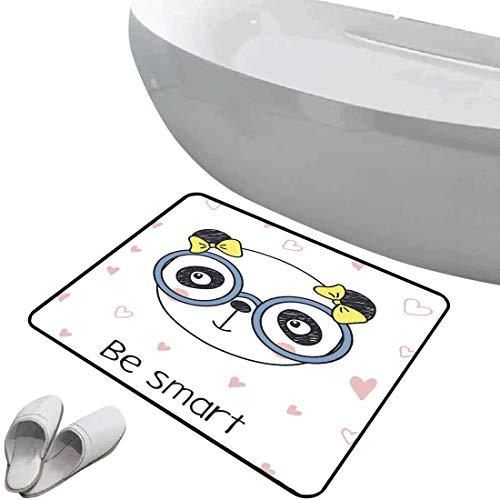 Alfombra de baño antideslizante Geek suave antideslizante Dibujado a mano Doodle Panda Girl con gafas sobre fondo blanco con formas de corazón,multicolor, Para ducha Felpudo Dormitorio Sala de estar C