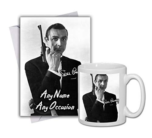 Sean Connery - 007 - James Bond 3 Personalised Card and Mug (Christmas, Birthday, Xmas)