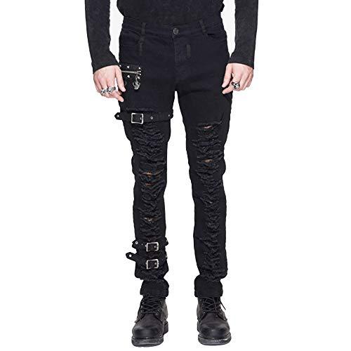 Punk Gothic Vorder Zerrissen Jeans Herren, Steampunk Denim Bleistift Hosen Slim Fit, Schwarz Strecken Hose, Schwarz 1,3XL