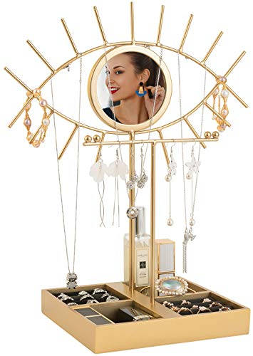 Jewelry Stand Eye Mirror Jewelry Holder Display Rack Earring Stand with Ring Organizer Storage Base Ins Necklace Bracelet Stand for Woman Girls Gift (Gold)