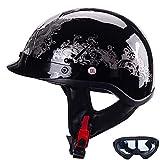 Casco Moto Abierto, Retro Cascos Moto Half Helmet con Visera, ECE Homologado Casco Moto Jet para Scooter Mofa Crash (Color : D, Size : S=(55~56CM))