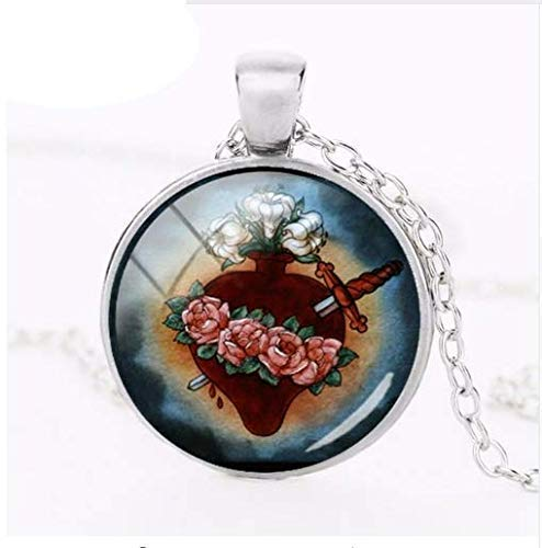 Immaculate Heart of Mary Necklace Religious Art Pendant Sacred Heart of Mary Jewelry Glass Necklaces