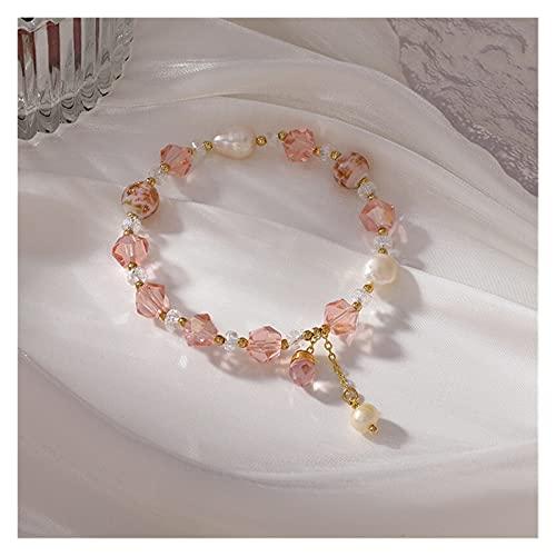 YINGNBH Pulsera 2021 Nuevo Pulsera de Cristal de Cristal Rosado Coreano Bola de Vidrio Irregular para Las Mujeres Joyería de Moda Sweet Charm Bracelets & Bangles Regalo