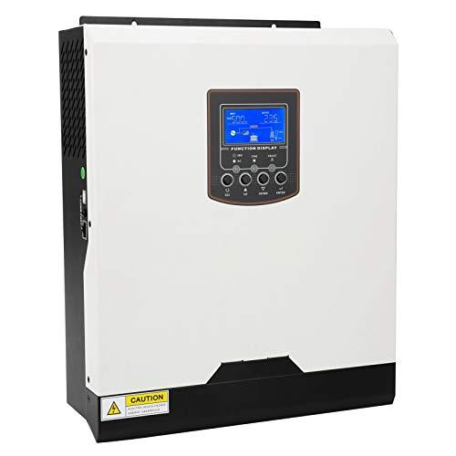 Solar Wechselrichter 3KVA 3000W Hybrid Wechselrichter Reiner Sinus Wechselrichter mit 50A PWM Solarladeregler Solar Ladegerät & LCD Bildschirm Unterstützung Strom/Generator/Solarladung