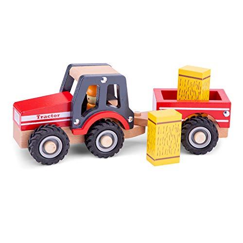 New Classic Toys - 11943 - Spielfahrzeuge - Traktor mit Anhänger und Heuballen