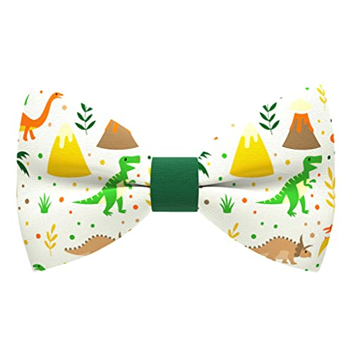 Dinosaurs bow tie pre-tied pattern green color unisex shape, by Bow Tie House (Medium, Green Dino)