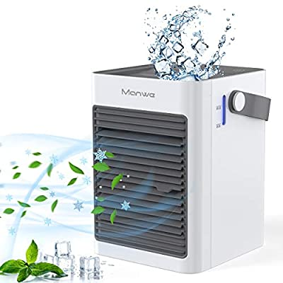 Manwe Air Cooler-Mini Air Conditioner,Personal Desk Fan 3 in 1 Small Evaporative Coolers, Humidifier, Purifier with 3 Fans Speeds, Mobile Air Cooling Fan for Home Office Bedroom Outdoor ect