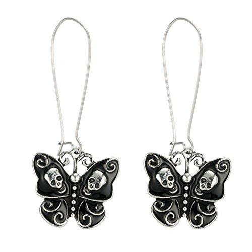 Pendientes colgantes de plata de ley 925 con diseño de calavera, color negro