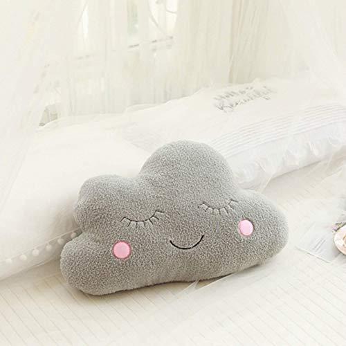 JONJUMP Cojín en forma de nube emocional gris de la almohada de la decoración de la silla de la habitación gris rosa blanco gris cojín