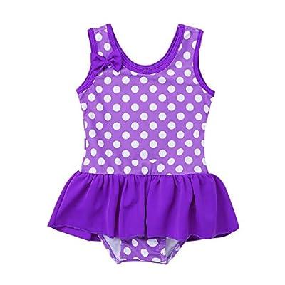 iEFiEL Baby Girls Cute Polka Dot Bow Ruffle Swimsuit Swimwear One-Piece Bathing Suit Purple 0-3 Months