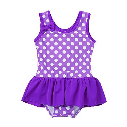 YiZYiF Mädchen Badeanzug Süß Bademode für Kinder Baby Sommer Schwimmanzug Strandwear UV Shutz Polka Dots Tankini Violett 68-74